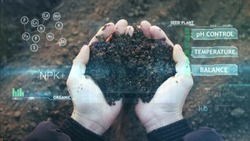 POV view of farmer owner control soil quality before seed plant. Future agriculture concept. Close-up hands with the ground. Smart farming, using modern technologies in agriculture