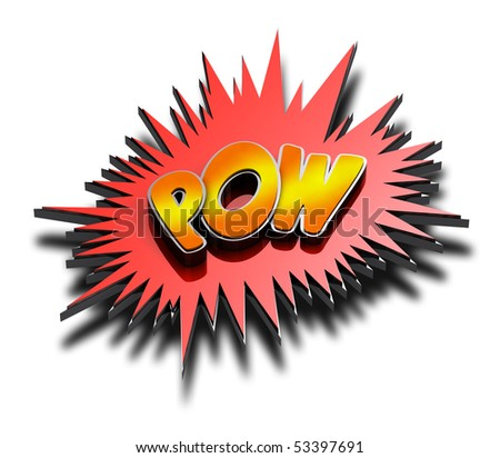 POW comic expression in 3D with drop shadow including clipping path