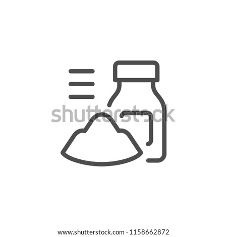 Powder and jar line icon isolated on white