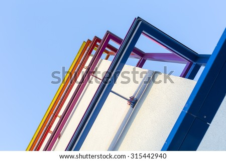 Powder coated colorful metal parts for facade
