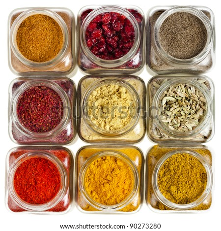 powder colorful spices in glass bottle close up , top view,  isolated on white background