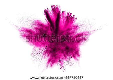 powder explosion.Powder explosion. Closeup of  blue dust particle explosion isolated on  background #669750667