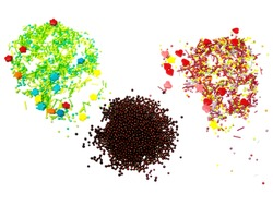 Powder for decorating festive Easter cakes. Multicolored stars, hearts, peas. Isolated on white background.