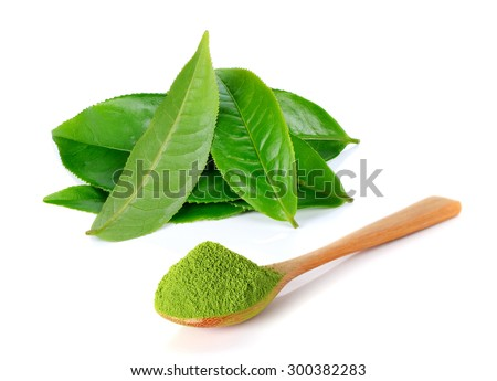 powder green tea and green tea leaf isolated on white background #300382283
