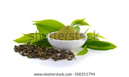 powder green tea and green tea leaf  on white background #500351794