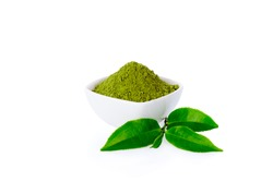 Powder green tea in small bowl and green tea leaf on white background and clipping path