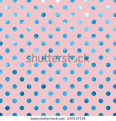 Powder Pink Baby Blue Metallic Foil Polka Dot Pattern Swiss Dots Texture Paper Color Background