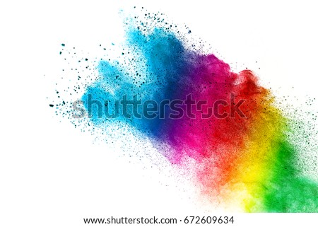 Powder powder explosion on white background. Colorful dust explode. Paint Holi. - Shutterstock ID 672609634