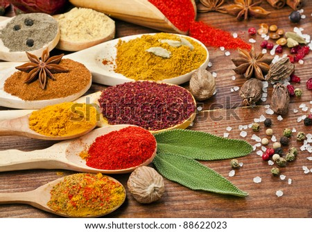 powder spices on spoons isolated in wooden background