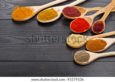 Powder spices on wooden spoons