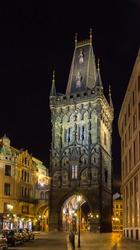 Powder Tower, a Gothic tower in Prague, Czech Republic