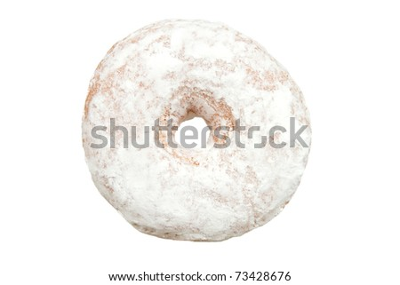 Powdered Sugar Donut from Top View Isolated on a White Background