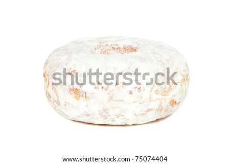 Powdered Sugar Donut Isolated on a White Background