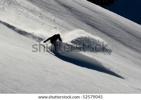 powderturn on snowboard