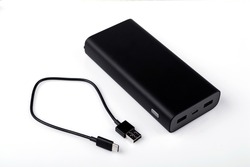 Power bank for charging mobile devices. Smartphone charger. External battery for mobile devices.