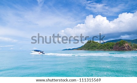 power boating on sea