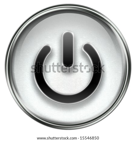 power button grey, isolated on white background.