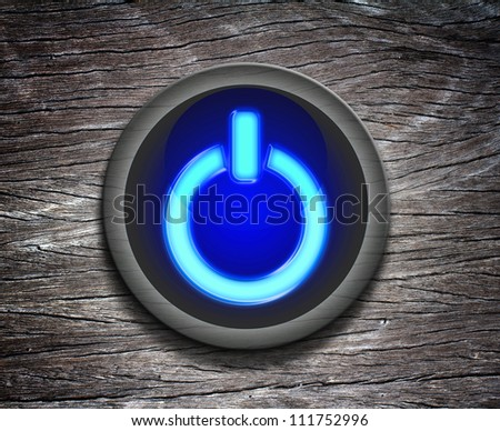 power button icon on  Wood Texture