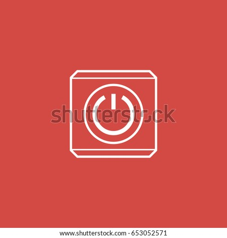 power button icon. sign design. red background #653052571