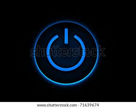 Power button lighting in darkness, 3D render
