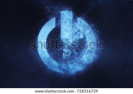 Power button sign, Power Button symbol. Abstract night sky background