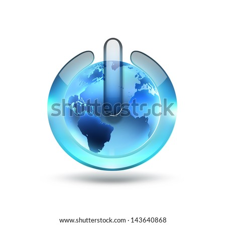 power button with the world on a white background