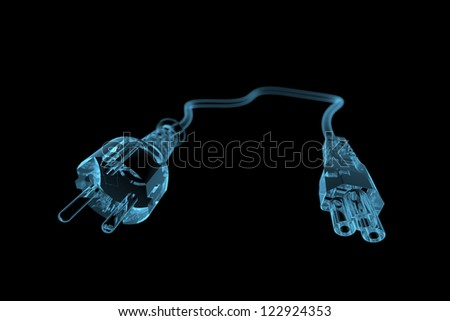 Power cable (3D xray blue transparent)
