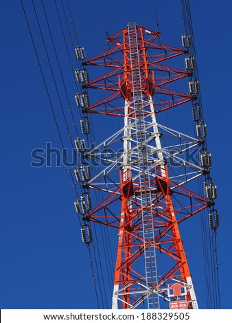 Power cable tower under the blue sky, Tokyo, Japan