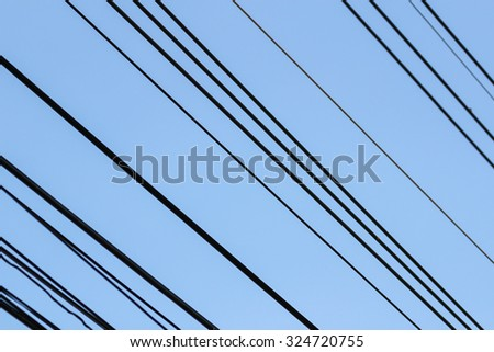 power cable  with blue sky #324720755