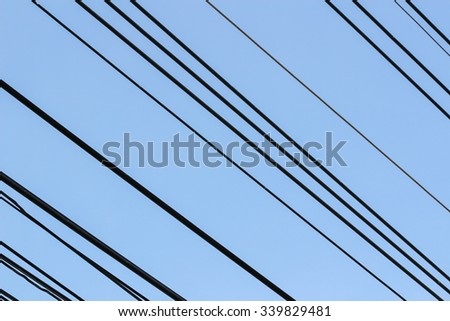 power cable  with blue sky #339829481