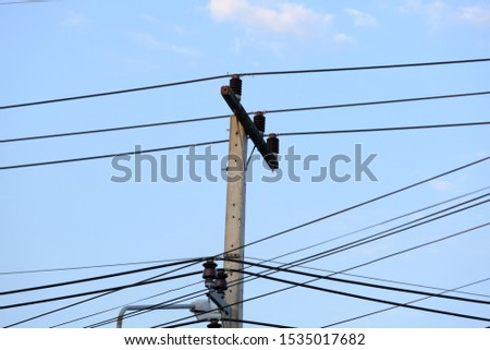 Power cord on the power poles