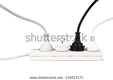 Power cords with powerboard isolated on white