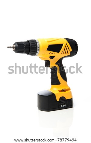 Power drill isolated against white