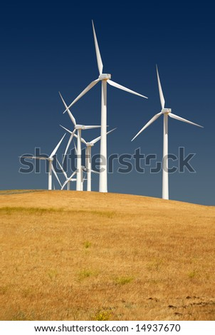 Power generating wind turbines on cultivated cattle grazed hills, Rio Vista California.
