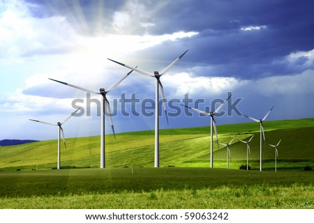 Power generating windmills - stock photo