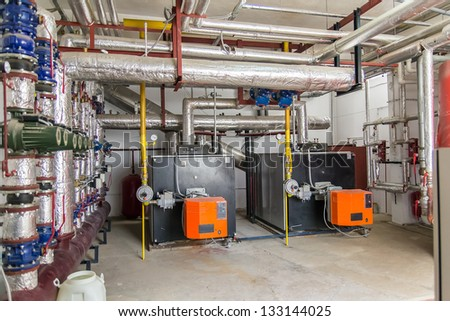 Power Generators In A Factory Machinery Room #133144025