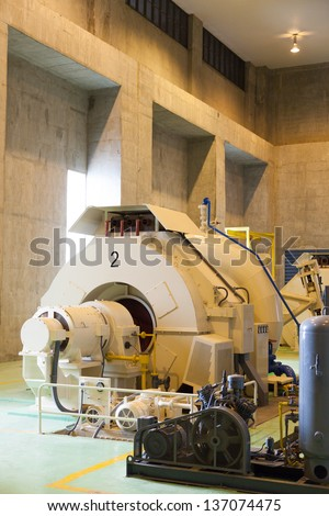 Power generators with water. Using a tidal power generation. Larger machines. - stock photo