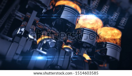Power Hungry V8 Engine With Explosions. Pistons And Other Mechanical Parts - 3D Illustration Render Photo stock ©