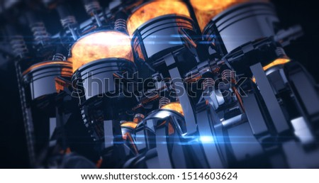 Power Hungry V8 Engine With Explosions. Pistons And Other Mechanical Parts - 3D Illustration Render