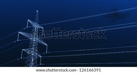 Power Line against sky background. X-ray effect.
