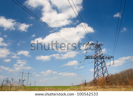 Power Line and tension against sky background. #100562533