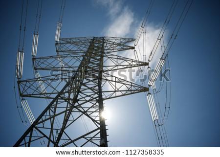 Power line in Zaragoza province, Aragon, Spain #1127358335