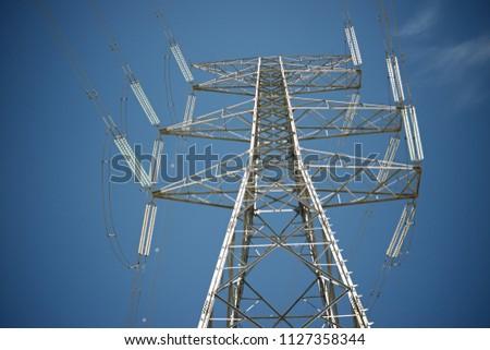 Power line in Zaragoza province, Aragon, Spain #1127358344