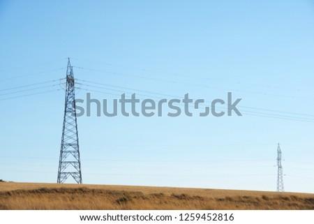 Power line in Zaragoza province, Aragon, Spain. #1259452816