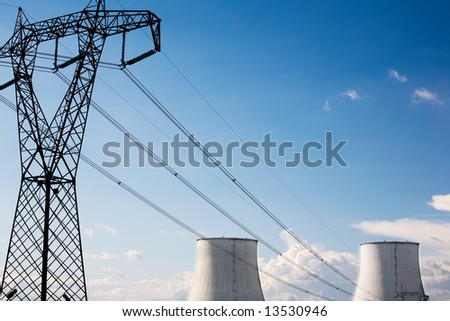 Power line of a nuclear power station; daylight.