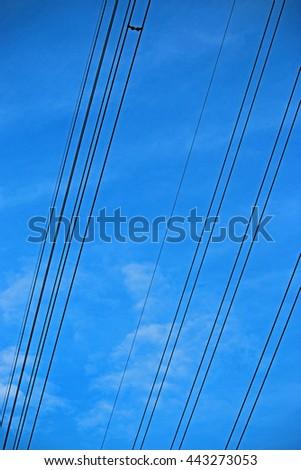 Power line on blue sky #443273053
