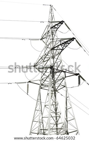 Power Line on White Background