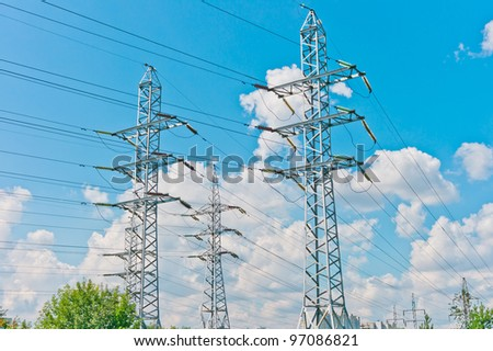 Power line towers in Moscow, Russia