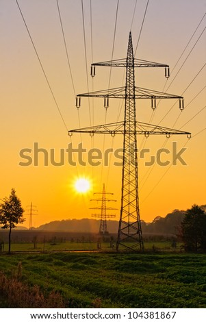 Power Line with illuminating sunset
