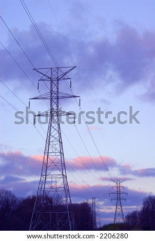 Power Lines and Towers - Even the electric towers and lines are beautiful at sunset.